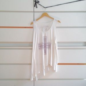 Free People • asymmetrical white tunic with print